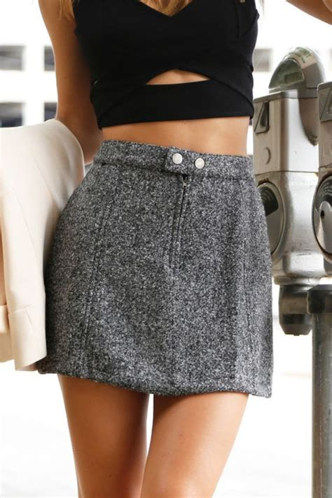 Skirt mini skirt grey skirt top crop tops black crop top summer outfits summer top ...