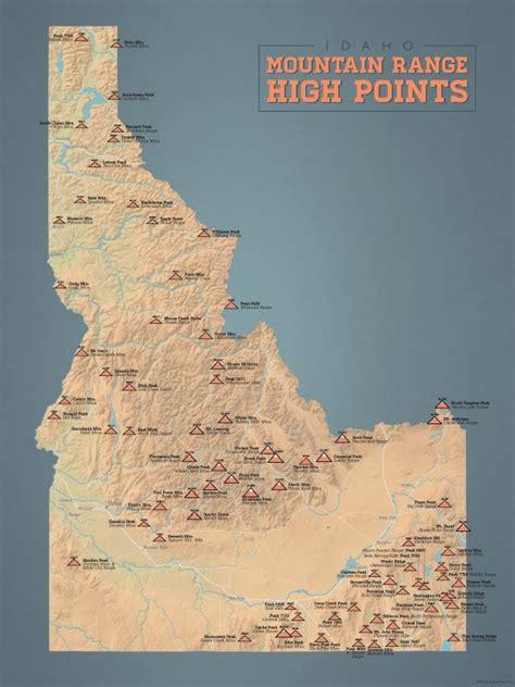 idaho mountain range high points map  poster