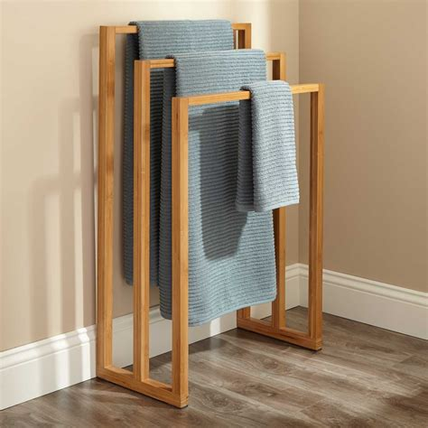 bathroom towel racks cinthea bamboo towel rack bathroom