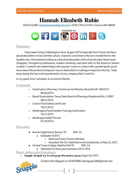 Brand Ambassador Resume Exles by Brand Ambassador Resume