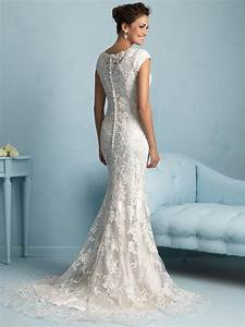allure modest sheath lace wedding dress m536 With form fitting lace wedding dresses