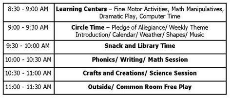 half day preschool schedule class schedules weekly themes school calendar wee 732