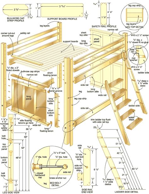 Low Loft Bed With Desk And Storage by Bunk Bed Plans Woodwork City Free Woodworking Plans