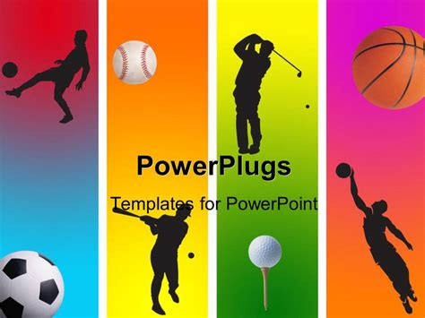 sports templates powerpoint template 3 football golf baseball and basketball in graphic style 27139