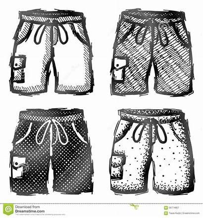 Hosen Shorts Kurze Drawn Pocket Tasche Gezeichnete