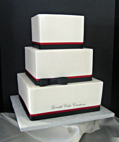 Elegant Square White Black And Red Wedding Cake Grace
