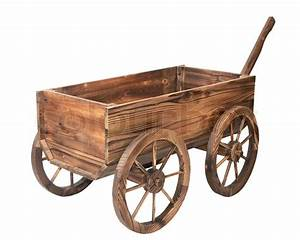 Vintage wooden cart isolated on white | Stock Photo ...