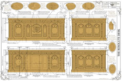 resolute desk replica plans the resolute desk blueprints color fill drawing the