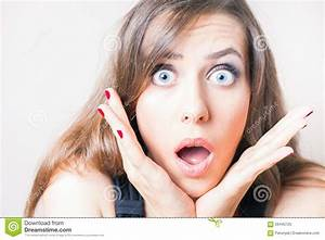 Surprised And Shocked Beautiful Woman Looking Up Stock ...
