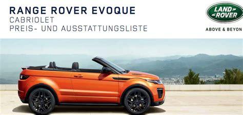 range rover cabrio preis range rover evoque cabrio preis preisliste
