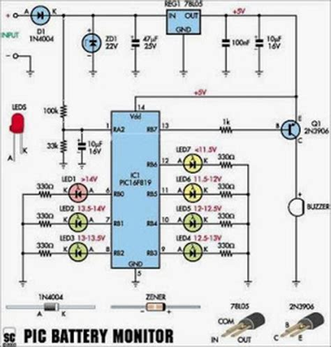 Car Battery Monitor Electronic Circuits Diagram