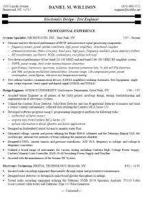 electronics engineer cv exle resume sle for electronics test engineer