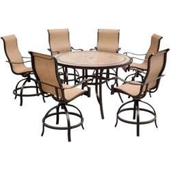 hanover monaco 7 piece outdoor bar h8 dining set with
