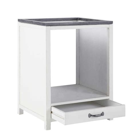 meuble bas pour cuisine meuble bas de cuisine pour four en bois recyclé blanc l 64