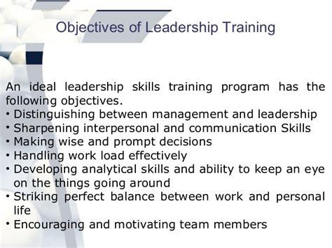 leadership training program benefits  objectives