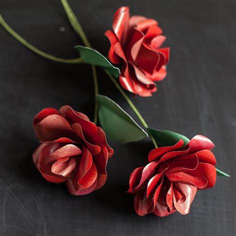 red long stemmed paper rose  valentines day