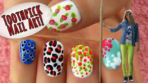 Toothpick nail art designs ideas using only a