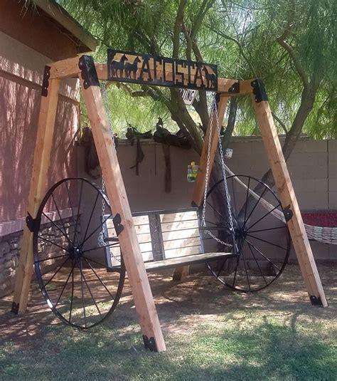 woodedmetal wagon wheels swing set  beer holder