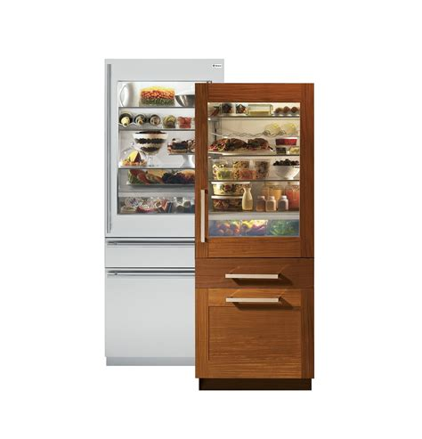 loving  ge monogram  fully integrated glass door refrigerators  single  du