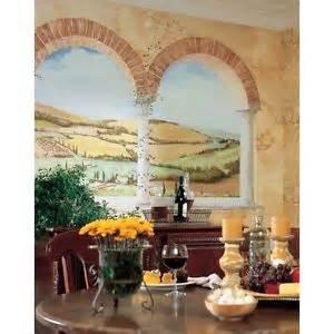new xl tuscan view wall mural brick arch vineyard
