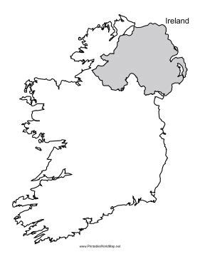 This printable outline map of Ireland is useful for school