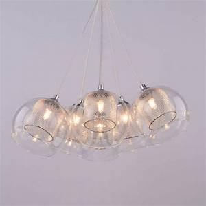 Suspension Boule En Verre : luminaires suspension 6 lumi res chrome verre lilas ~ Melissatoandfro.com Idées de Décoration