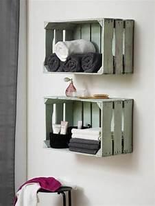 Bois Pour Salle De Bain : id e d coration salle de bain caisses en bois recycl es dans la salle de bains astuce d co ~ Melissatoandfro.com Idées de Décoration