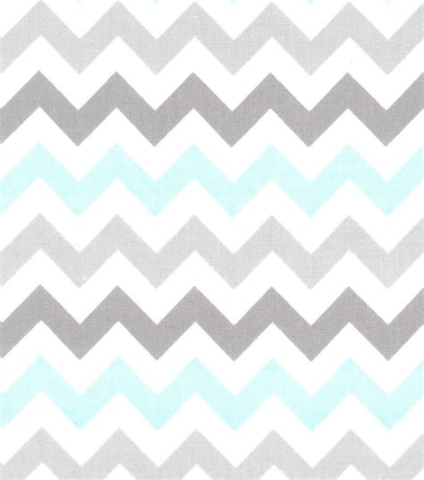Nursery Baby Basic Fabric Chevron Gray White Teal Joann