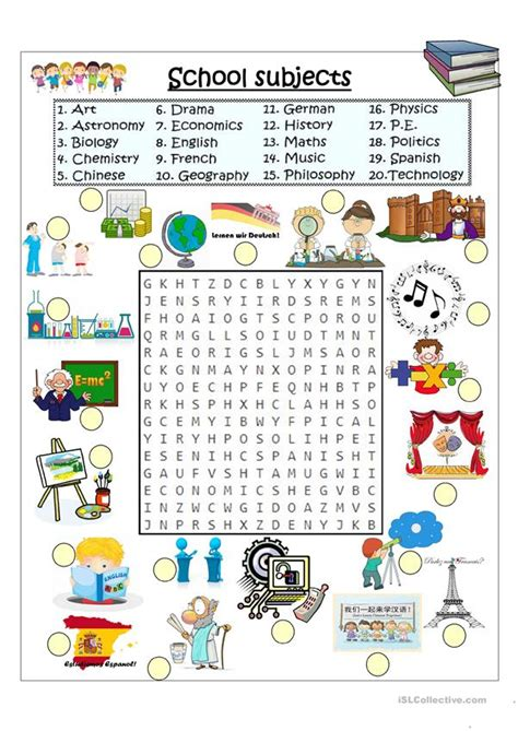 school subjects word search english esl worksheets