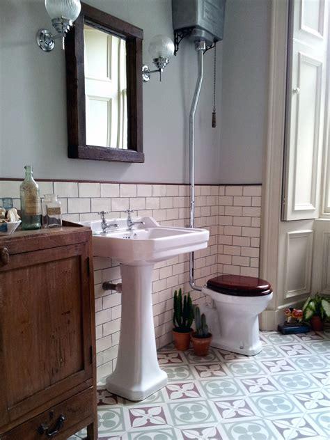 bathroom ideas vintage edwardian encaustic tile floor with subway tile