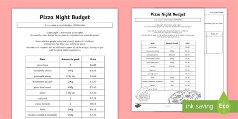 pizza night budget worksheet activity sheet worksheet money dollars