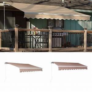 12 U0026 39 X10 U0026 39 Diy Manual Patio Awning Deck Retractable Shade Sun