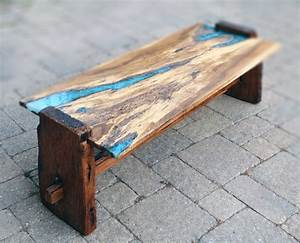 Live edge rustic oak with turquoise inlay coffee table for Glass inlay coffee table