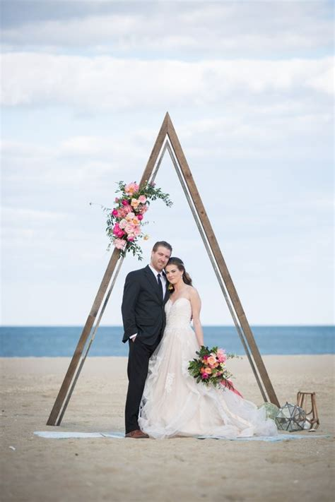 picture   romantic coastal wedding arch  bright