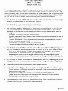 Arkansas Civil Cover Sheet Instructions Download Printable