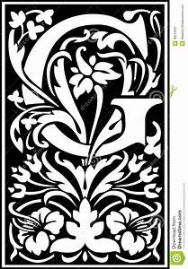 Flowers Decorative Letter G Balck And White Stock Image ...