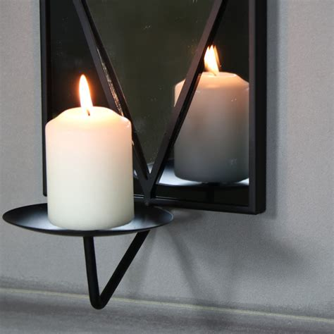 Candle Wall Sconces With Mirror - black wall mirror with candle sconce melody maison 174
