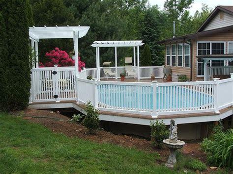pool deck railing above ground pools decks idea vinyl deck railing on your pool deck patio deck designs idea