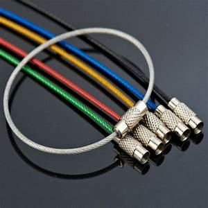 Lots 5pcs Stainless Steel Wire Keychain Cable Key Ring