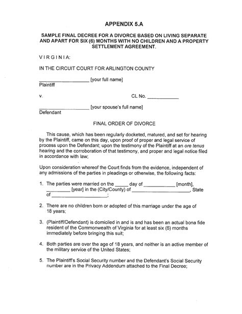 virginia separation agreement template virginia separation agreement template for free page 15 formtemplate