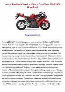 Honda Fireblade Service Manual Cbr1000rr 2004 By Karre
