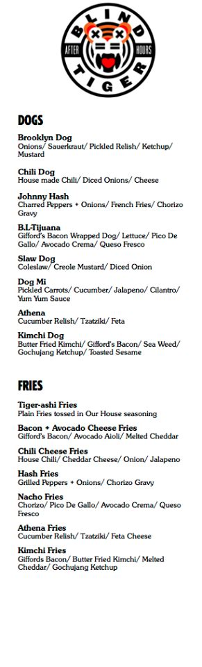 the blind tiger menu update blind tiger a late takeover is coming to