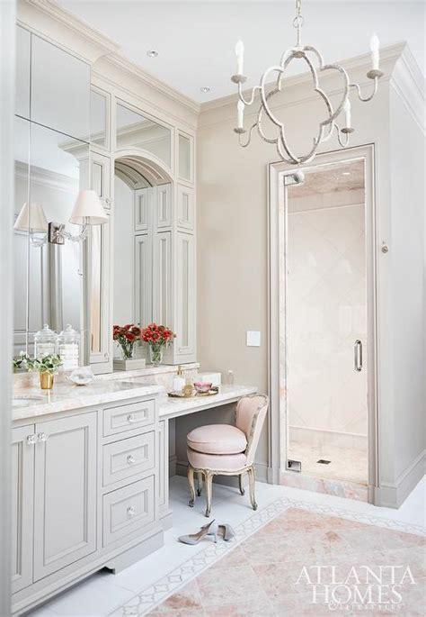pink  gray bathroom  pink marble tile floor