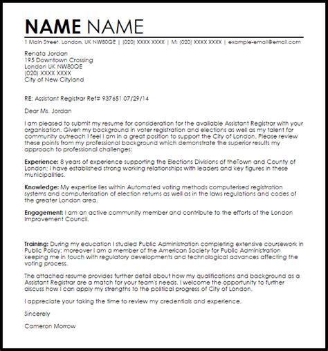 Registrar Resume Cover Letter assistant registrar cover letter sle letter sles