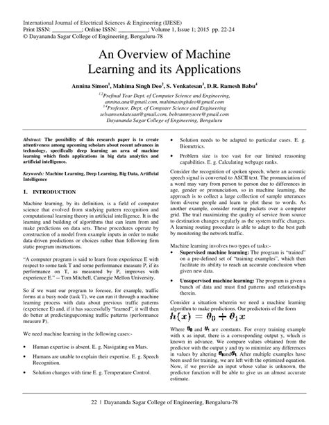 (PDF) An Overview of Machine Learning and its Applications