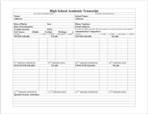 Homeschool Transcript Template High School Transcripts For Homeschoolers Templates On