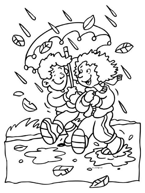 Kleurplaat En De Herfst by Kleurplaat Herfst Regen Paraplu Kleurplaten Nl
