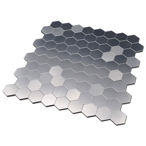 smart tiles peel and stick hexagon self adhesive metal mosaic 10 pcs hexagon peel n stick