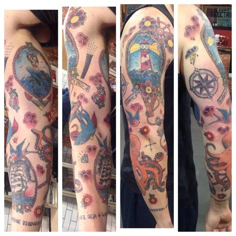 school arm school sleeve traditional ink and
