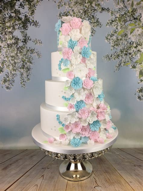 pastel blue and pink blossoms wedding cake mel s amazing cakes